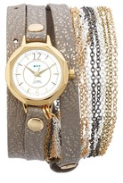 La Mer Women's Del Mar Leather & Chain Wrap Strap Watch, 35Mm