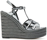 Saint Laurent Espadrille 95 T-strap wedge sandals - women - Calf Leather/Leather - 35