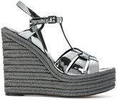 Saint Laurent Espadrille 95 T-strap wedge sandals - women - Calf Leather/Leather - 38