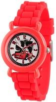 Cars Boys' Disney Lightning McQueen Plastic Time Teacher Watch, Silicone Strap, WDS000149