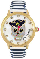 Betsey Johnson Skulls And Stripes Watch