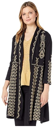 Johnny Was Tracy Knit Duster Coat (Black) Women's Clothing
