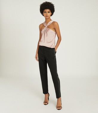 Reiss Neavah - Satin Halterneck Top in Blush