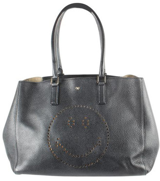 Anya Hindmarch Black Leather Smiley Large Tote