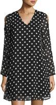 Neiman Marcus Polka-Dot Cold-Shoulder Dress, Black/White