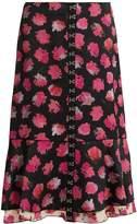 Proenza Schouler Carnation-print fluted midi skirt