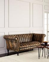 Old Hickory Tannery Safari Channel-Tufted Leather Sofa