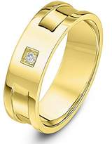 Theia 9ct Yellow Gold 0.02 Carat Diamond Set In Square Setting with Two Grooves 6mm Ring - Size Q