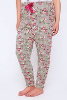 Yours Clothing Grey & Pink Floral Print Pyjama Bottoms