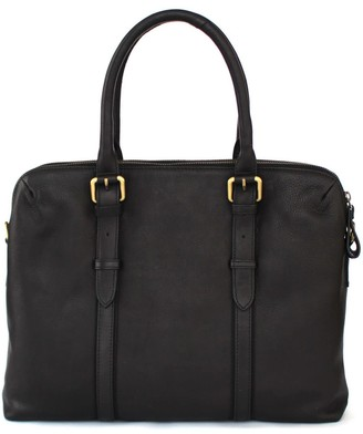 Nappa Dori Dual Zip Laptop Bag Black Leather