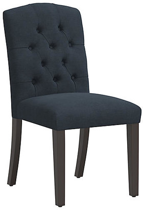 One Kings Lane Lea Tufted Side Chair - Navy Linen