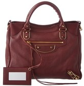 Balenciaga Classic Gold Metallic Edge Velo Leather Shoulder Bag.