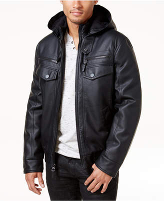 INC International Concepts Inc Men Faux Leather Hooded Bomber Jacket