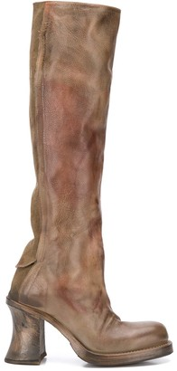 Distressed-Effect Knee-High Boots