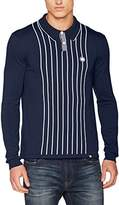 Pretty Green Men's Whittle Kintted Polo Long Sleeve Top,XX-Large