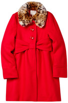 Kate Spade Faux Fur Collar Coat (Big Girls)