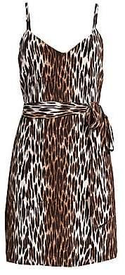 L'Agence Women's Leopard-Print Belted Silk Camisole Dress
