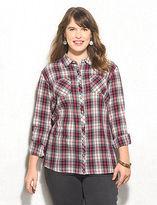 dressbarn Front Pocket Shimmer Detail Plaid Shirt Plus