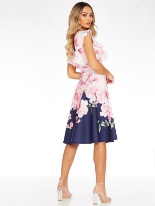 Quiz Floral Print V-Neck Frill Skater Dress - Navy/Floral