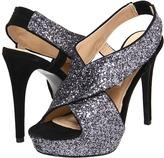 Diane von Furstenberg Zia Glitter (Lead Glitter/Black Suede) - Footwear