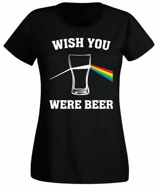 Flip Womens Wish You were Beer Floyd Parody Funny T-Shirt Black UK 8-10 (M)