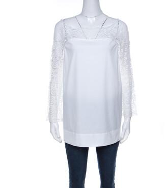 Philosophy di Alberta Ferretti Off White Cotton Lace Detail Top L