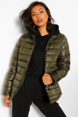 boohoo Funnel Neck Fitted Puffer Jacket