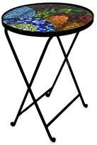 Handmade Mosaic Stained Glass Folding Table, 'Glass Spectacle'