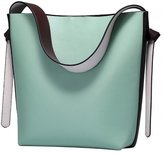 Fenleo New Genuine Leather Handbag Large Capacity Contrast Color Bucket Bag Casual Cow leather Shoulder Bag
