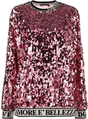 Dolce & Gabbana Sequin-Embroidered Sweatshirt