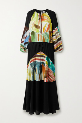 Rosie Assoulin Oversized Paneled Chiffon And Printed Silk Crepe De Chine Maxi Dress - Black