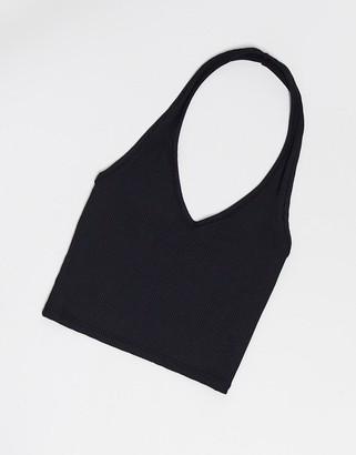 Miss Selfridge halter neck crop top in black