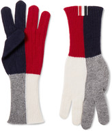 Thom Browne Colour-Block Merino Wool Gloves