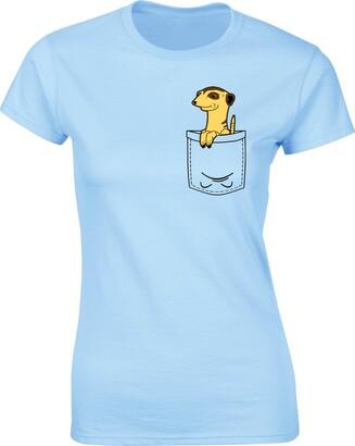 Flip Womens Meerkat Cute Animal Pocket Print T-Shirt Sky Blue UK 14-16 (XXL)