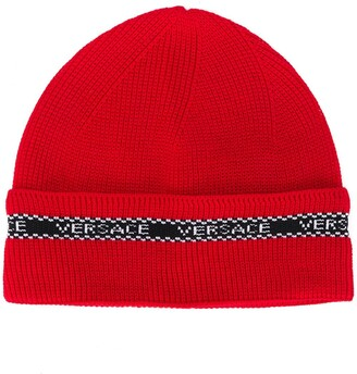 Versace Contrasting Logo Detail Beanie