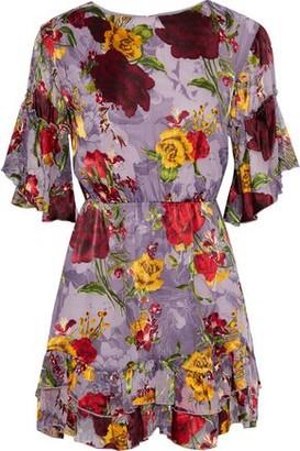 Alice + Olivia Katrina Gathered Floral-print Fil Coupe Chiffon Mini Dress