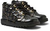 Kickers Black Leather Kick Hi Rowan Floral Applique Boots