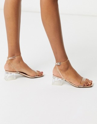 ASOS DESIGN Hocco block heeled sandals in clear and rose gold