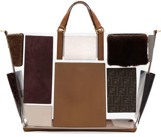 Fendi Men's Transparent Mixed Leather & Fur Tote Bag