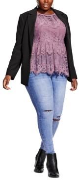 City Chic Plus Size Single-Button Blazer
