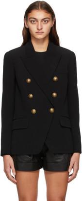 Balmain Black Crepe Double-Breasted Blazer