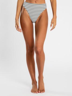 Nude Lucy High-Waisted Bikini Briefs in Black White Stripe