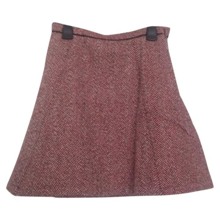 Suncoo Burgundy Wool Skirt for Women