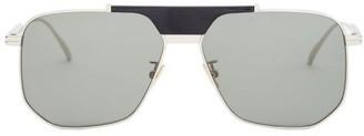 Bottega Veneta Angular Aviator Metal Sunglasses - Mens - Silver