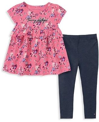 Tommy Hilfiger Little Girl's 2-Piece Floral Babydoll Top Leggings Set