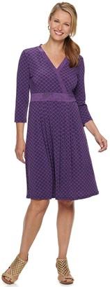 Croft & Barrow Women's Print Faux-Wrap Dress