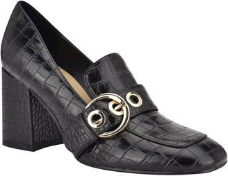 Nine West Karleen Buckle Croc-Embossed Block Heel Loafer