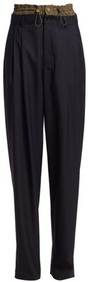 Monse Pinstripe Drawstring Stretch Wool Trousers
