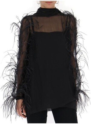 Valentino Sheer Feather Trim Blouse