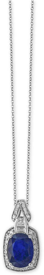 Effy Royale Bleu Sapphire (1-9/10 ct. t.w.) and Diamond (1/4 ct. t.w.) Pendant Necklace in 14k White Gold, Created for Macy's
